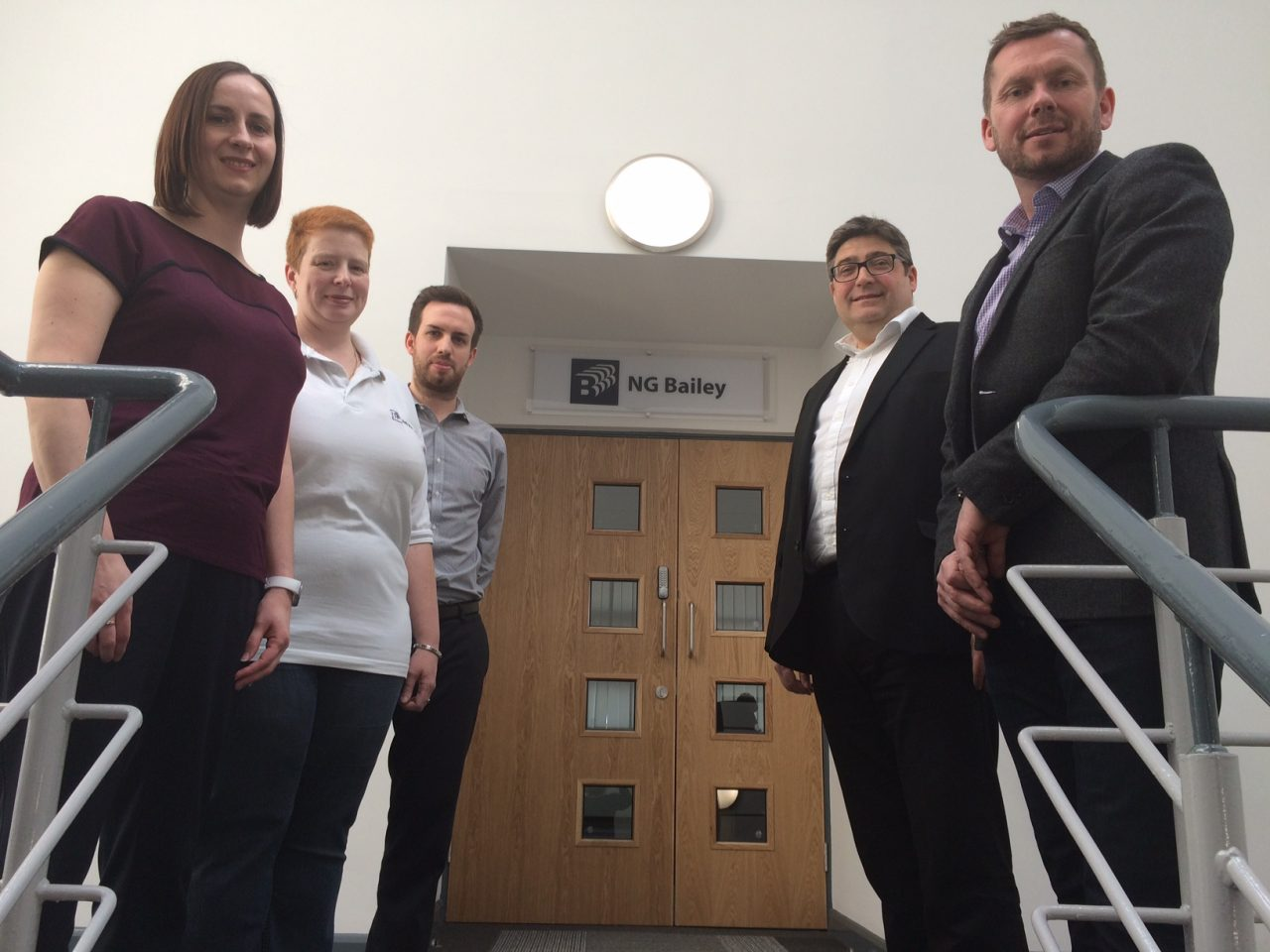 (left/right) Lisa Mitchell, Gaynor Smallwood and Adam Scott of NG Bailey with Peter Whiteley of Knight Frank and Richard Burns, director at ARBA Group.