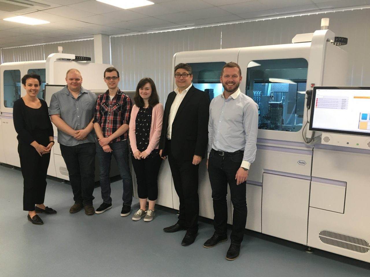 (left to right): Chloe Williams of equipment supplier Roche; Tim Alston, technical director at Preventx, Ryan Kinsella, lab director at Preventx; Natalie Loeber, lab manager at Preventx with Peter Whiteley of Knight Frank and Richard Burns of ARBA Group.