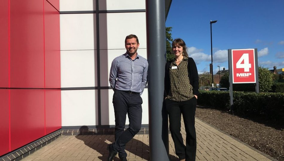 Richard Burns, director at ARBA Group with Laura Riley, CEO of Mums In Need at Meadowhall Business Park