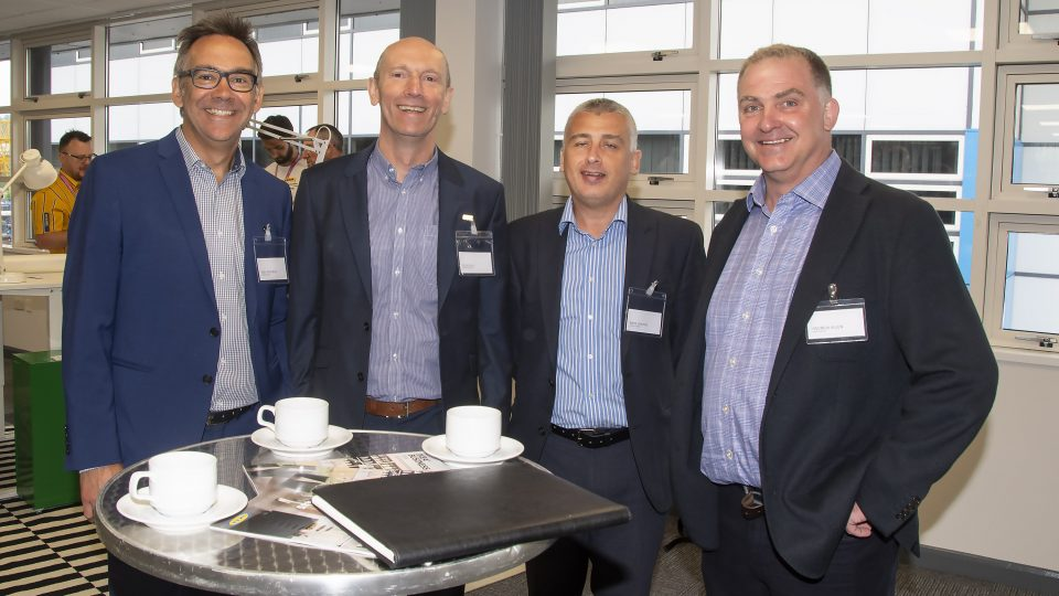Tenants Andy Wigfield, Doug Hill & Mark Denton from Auburn Ainsley catch up with ARBA Group director Andrew Allen