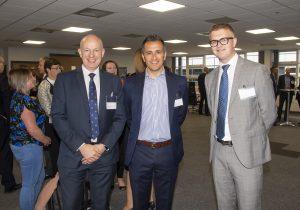 Irwin Mitchells' Danny Revitt enjoys the MBP4 launch event with Knight Frank Sheffield's Nick Wales & John Jarman